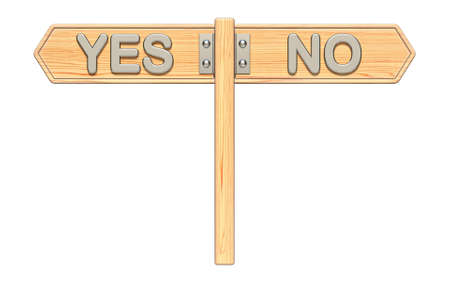 YES and NO wooden sign 3D render illustration isolated on white background