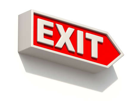 Red EXIT sign on white wall 3D rendering illustration isolated on white background