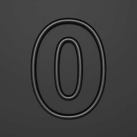 Black outline font Number 0 ZERO 3D illustration on black background Stok Fotoğraf