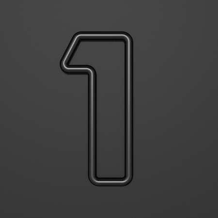 Black outline font Number 1 ONE 3D illustration on black background