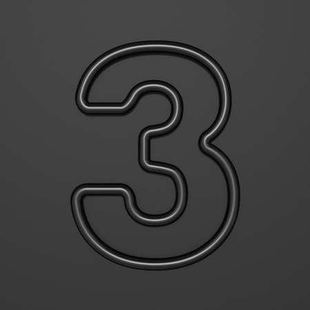 Black outline font Number 3 THREE 3D illustration on black background Stok Fotoğraf