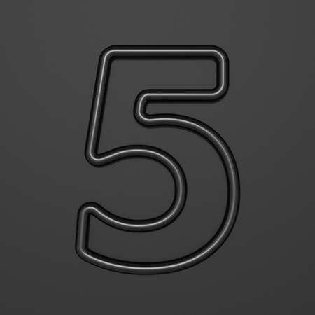 Black outline font Number 5 FIVE 3D illustration on black background