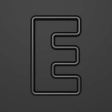 Black outline font Letter E 3D illustration on black background