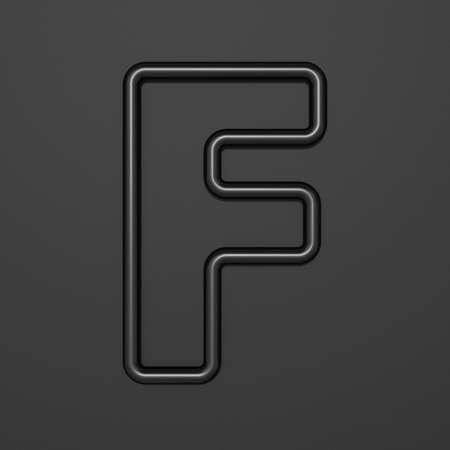 Black outline font Letter F 3D illustration on black background