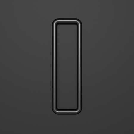 Black outline font Letter I 3D illustration on black background