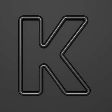 Black outline font Letter K 3D illustration on black background Stok Fotoğraf