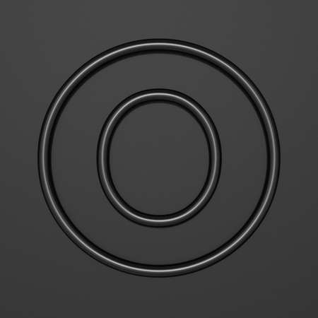 Black outline font Letter O 3D illustration on black background Imagens