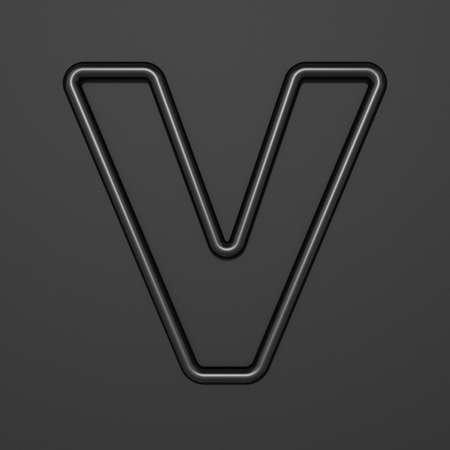 Black outline font Letter V 3D illustration on black background
