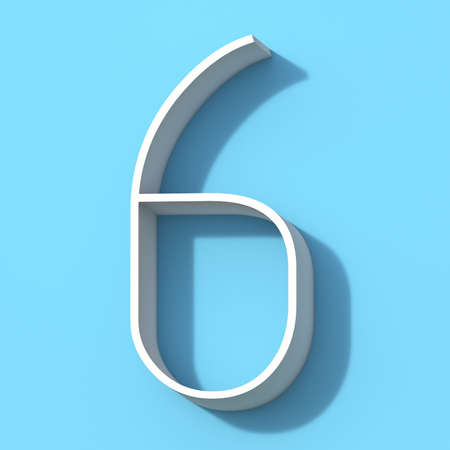 Line font with shadow Number 6 SIX 3D rendering illustration on blue background