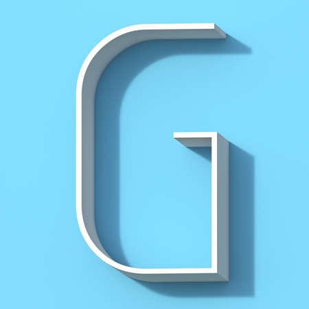 Line font with shadow Letter G 3D rendering illustration on blue background