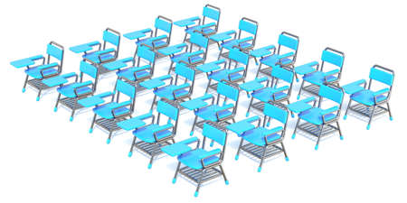 Group of twenty blue student chairs 3D render orthographic illustration isolated on white background 스톡 콘텐츠 - 129068471