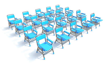 Group of twenty blue student chairs 3D render perspective illustration isolated on white background 스톡 콘텐츠