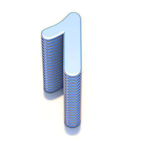 Blue extruded Number 1 ONE 3D render illustration isolated on white background Фото со стока