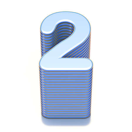 Blue extruded Number 2 TWO 3D render illustration isolated on white background