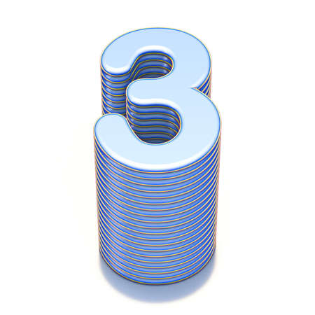 Blue extruded Number 3 THREE 3D render illustration isolated on white background