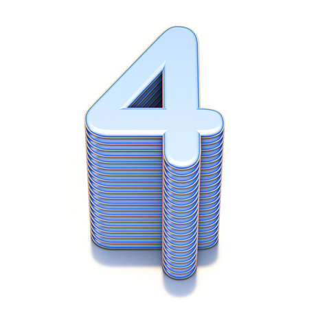 Blue extruded Number 4 FOUR 3D render illustration isolated on white background Фото со стока