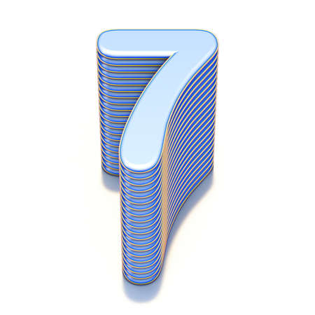 Blue extruded Number 7 SEVEN 3D render illustration isolated on white background