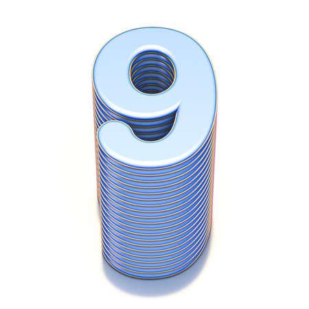 Blue extruded Number 9 NINE 3D render illustration isolated on white background