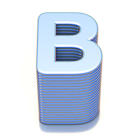 Blue extruded font Letter B 3D render illustration isolated on white background
