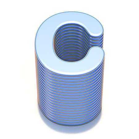 Blue extruded font Letter C 3D render illustration isolated on white background