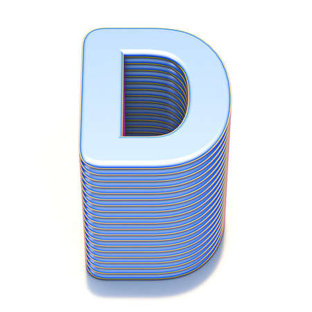 Blue extruded font Letter D 3D render illustration isolated on white background Stock Photo