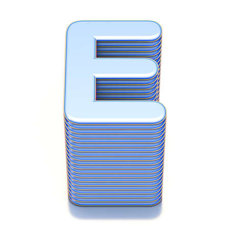Blue extruded font Letter E 3D render illustration isolated on white background
