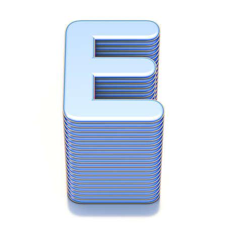 Blue extruded font Letter E 3D render illustration isolated on white background