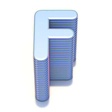 Blue extruded font Letter F 3D render illustration isolated on white background Stock Photo
