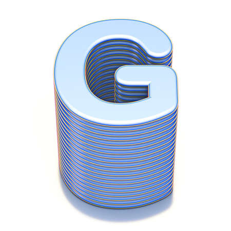 Blue extruded font Letter G 3D render illustration isolated on white background