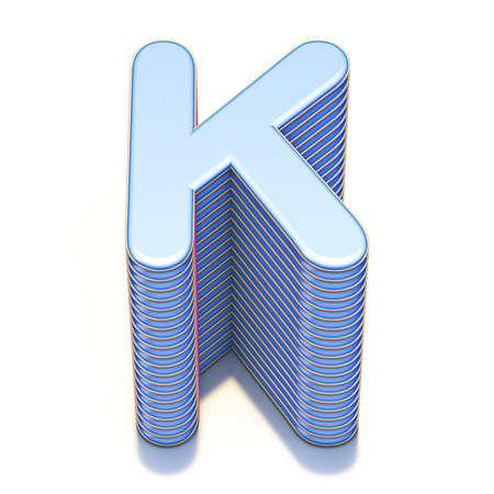 Blue extruded font Letter K 3D render illustration isolated on white background Stock Photo