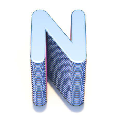 Blue extruded font Letter N 3D render illustration isolated on white background