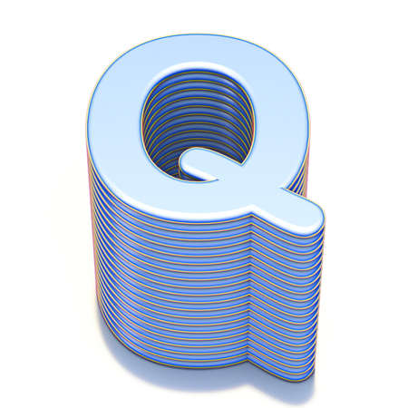 Blue extruded font Letter Q 3D render illustration isolated on white background Stockfoto