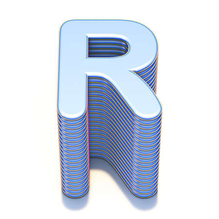 Blue extruded font Letter R 3D render illustration isolated on white background
