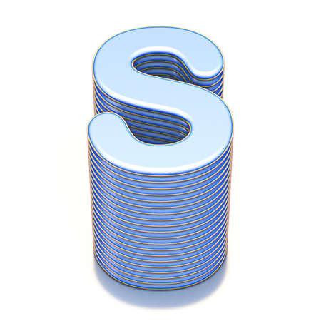 Blue extruded font Letter S 3D render illustration isolated on white background