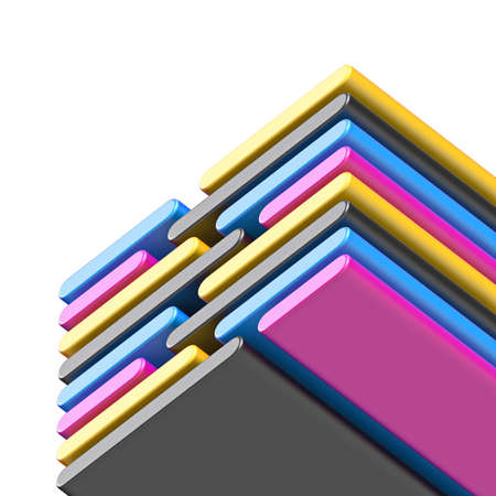 Abstract diagonal CMYK lines 3D render illustration isolated on white background