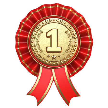 Gold medal for first place with red ribbons 3D render illustration isolated on white background