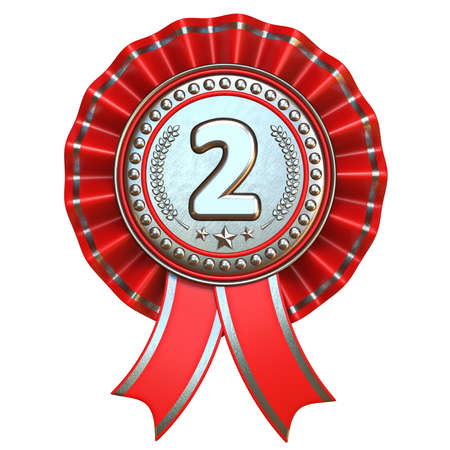 Silver medal for second place with red ribbons 3D render illustration isolated on white background