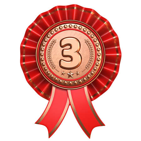 Bronze medal for third place with red ribbons 3D render illustration isolated on white background