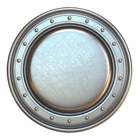 Simple metal shield round shape 3D render illustration isolated on white background