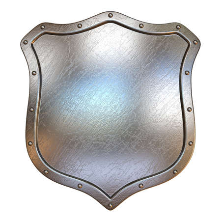 Simple metal shield 3D render illustration isolated on white background