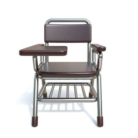 Writing pad student chair Front view 3D render illustration isolated on white background