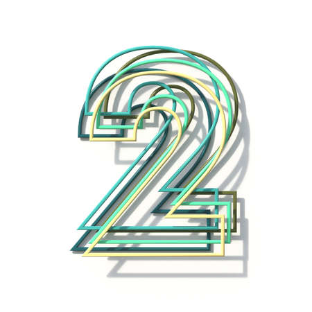 Three colors line font Number 2 TWO 3D rendering illustration isolated on white background Stok Fotoğraf