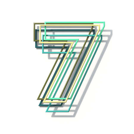 Three colors line font Number 7 SEVEN 3D rendering illustration isolated on white background