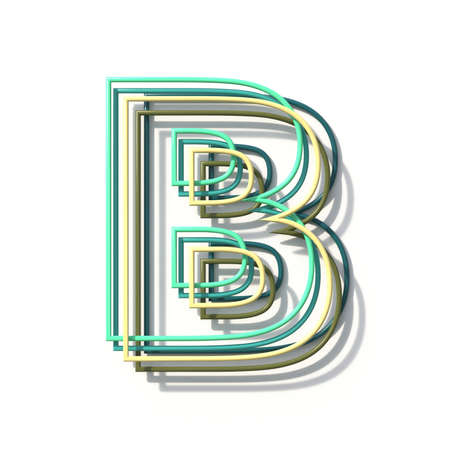 Three colors line font Letter B 3D rendering illustration isolated on white background Stok Fotoğraf