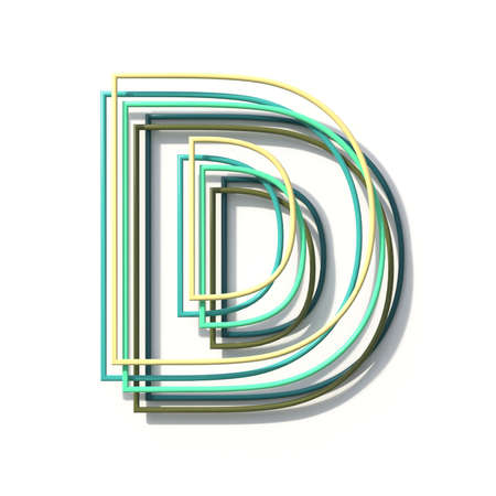 Three colors line font Letter D 3D rendering illustration isolated on white background