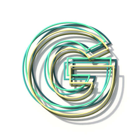 Three colors line font Letter G 3D rendering illustration isolated on white background Stok Fotoğraf