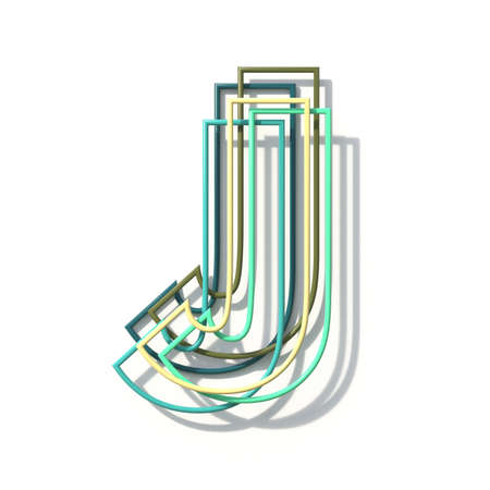 Three colors line font Letter J 3D rendering illustration isolated on white background