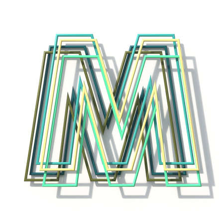 Three colors line font Letter M 3D rendering illustration isolated on white background