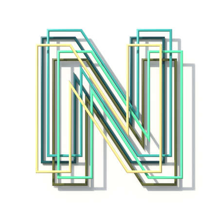 Three colors line font Letter N 3D rendering illustration isolated on white background