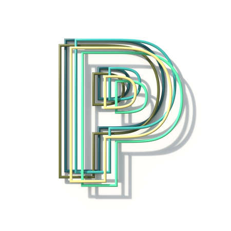Three colors line font Letter P 3D rendering illustration isolated on white background